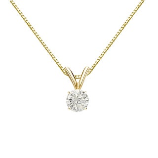 Auriya 18k Gold 1/4ct TDW Round-Cut Diamond 4-Prong Solitaire Necklace (J-K, I1-I2)