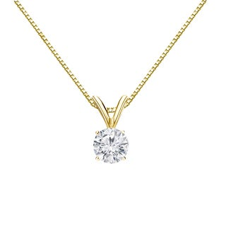 Auriya 18k Gold 1/3ct TDW Round-Cut Diamond 4-Prong Solitaire Necklace (H-I, VS1-VS2)
