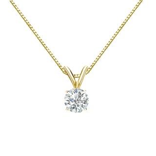 Auriya 18k Gold 1/3ct TDW Round Diamond Solitaire Necklace