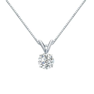 Auriya 18k Gold 1/2ct TDW Round-Cut Diamond 4-Prong Solitaire Necklace (H-I, SI1-SI2)
