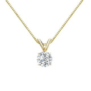 Auriya 18k Gold 1/2ct TDW Round-Cut Diamond 4-Prong Solitaire Necklace (I-J, SI2-SI3)