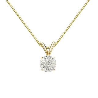 Auriya 18k Gold 1/2ct TDW Round-Cut Diamond 4-Prong Solitaire Necklace (J-K, I1-I2)