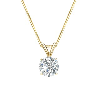 Auriya 18k Gold 3/4ct TDW Round-Cut Diamond 4-Prong Solitaire Necklace