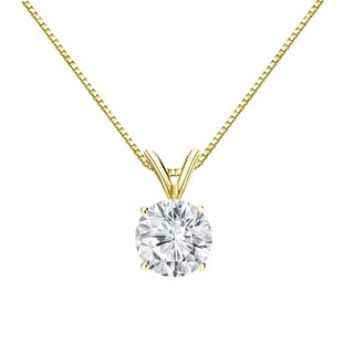 Auriya 18k Gold 1ct TDW Round-Cut Diamond 4-Prong Solitaire Necklace (H-I, VS1-VS2)