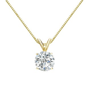 Auriya 18k Gold 1ct TDW Round-Cut Diamond 4-Prong Solitaire Necklace (I-J, SI2-SI3)