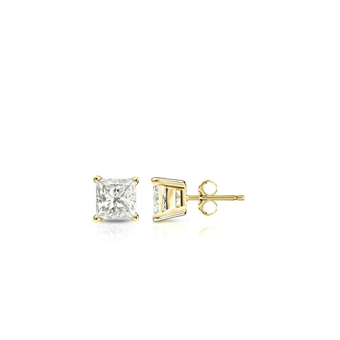 Auriya 14k Gold 1/4ct TDW Princess-Cut Diamond Stud Earrings