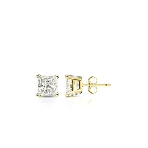 Auriya 14k Gold 1/3ctw Princess-cut Diamond Stud Earrings