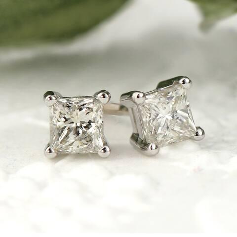 Auriya 14k Gold 1/3ctw Princess-cut Diamond Stud Earrings