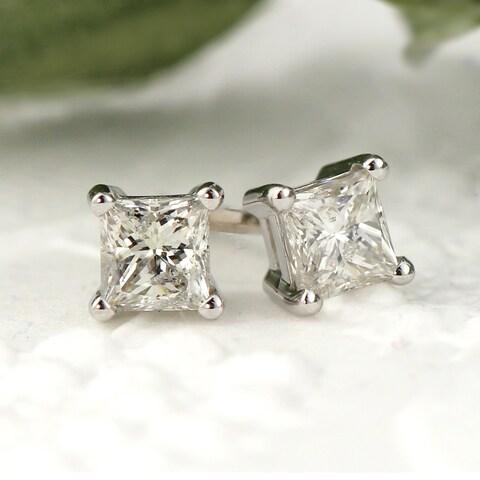 Auriya 14k Gold 1/3ct TDW Princess-Cut Diamond Stud Earrings