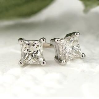 Auriya 14k Gold 1/3ct TDW Princess-Cut Diamond 4-Prong Basket Push-Back Stud Earrings (J-K, I2-I3) https://ak1.ostkcdn.com/images/products/12276426/P19115007.jpg?impolicy=medium