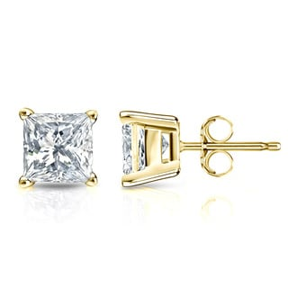 Auriya 14k Gold 1/4ct TDW Princess-Cut Diamond 4-Prong Basket Push-Back Stud Earrings (I-J, SI2-SI3)