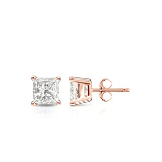 Auriya 14k Gold 1/2ct TDW Princess-Cut Diamond 4-Prong Basket Push-Back Stud Earrings (I-J, I1-I2)