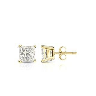 Auriya 14k Gold 3/4ct TDW Princess-Cut Diamond 4-Prong Basket Push-Back Stud Earrings (J-K, I2-I3)