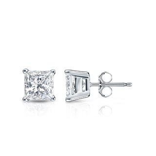 Auriya 14k Gold 1ct TDW Princess-Cut Diamond 4-Prong Basket Push-Back Stud Earrings (H-I, SI1-SI2)