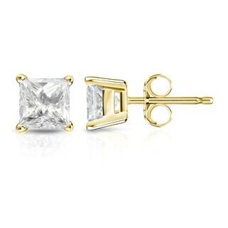Auriya 14k Gold 1 1/4ct TDW Princess-Cut Diamond 4-Prong Basket Push-Back Stud Earrings (J-K, I2-I3)