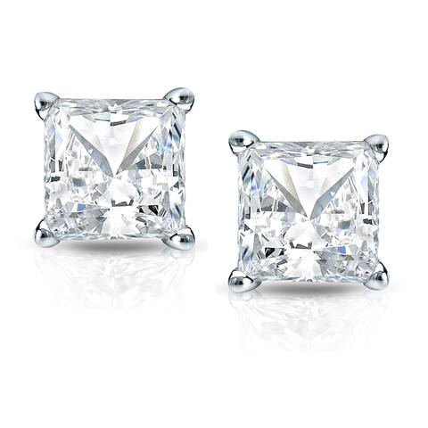 Auriya 1 1/2ctw Princess Cut Diamond Stud Earrings 14k Gold