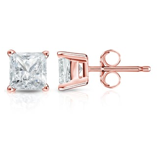 Auriya 14k Gold 1 1/2ct TDW Princess-Cut Diamond 4-Prong Basket Push-Back Stud Earrings (I-J, SI2-SI3)