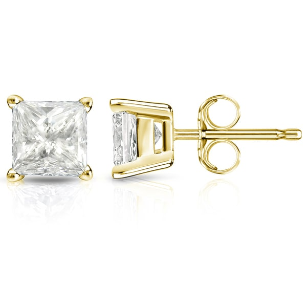 7ee44d304 Shop 14k Gold 2ct TDW Square Princess-Cut Diamond Stud Earrings - On ...