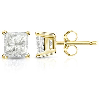 Auriya 14k Gold 2ct TDW Princess-Cut Diamond 4-Prong Basket Push-Back Stud Earrings (I-J, I1-I2)