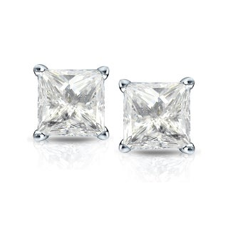 Auriya 14k Gold 1 1/2ct TDW Princess-Cut Diamond 4-Prong Basket Push-Back Stud Earrings (J-K, I2-I3)
