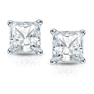 Auriya 14k Gold 2ct TDW Princess Cut Diamond 4-Prong Basket Push-Back Stud Earrings (H-I, SI1-SI2)