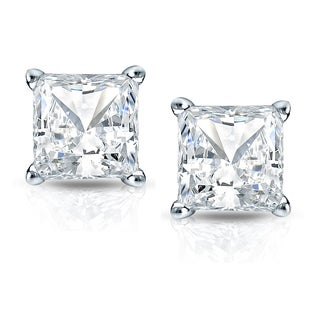 Auriya 14k Gold 2ct TDW Princess Cut Diamond 4-Prong Basket Push-Back Stud Earrings