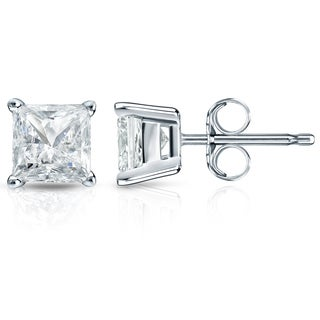 Auriya 14k Gold 2ct TDW Princess-Cut Diamond 4-Prong Basket Push-Back Stud Earrings (I-J, SI2-SI3)
