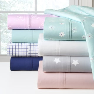 Combed Cotton Percale Printed or Solid Sheet Set