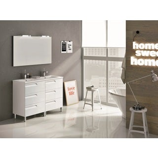 Eviva Vitale White 48-inch Modern Bathroom Vanity with White Integrated Porcelain Sink
