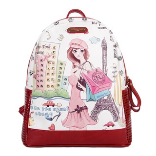 Nicole Lee Shopping Girl Print Fashion Backpack
