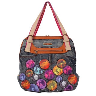 NIcole Lee Muneca Multicolored Faux-leather/Nylon Patch-print Hobo Handbag