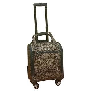 Kemyer Leopard-print Under-seat Carry-on Spinner Tote Bag