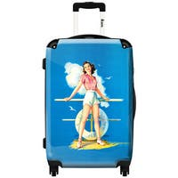iKase 'Pin Up Beach Blue  ,Check-in 24-inch .Hardside Spinner Luggage