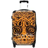 iKase 'Frida Kahlo Skull Head Orange' ,Check-in 24-inch .Hardside Spinner Luggage