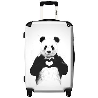iKase 'Panda All You Need Is Love' 20-inch Fashion Hardside Carry-on Spinner Suitcase