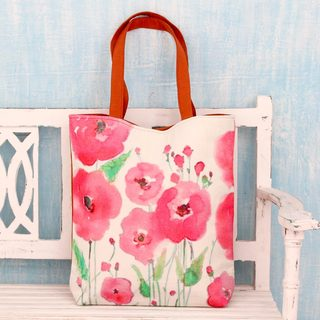 Handcrafted Cotton 'Pink Blossoms' Shoulder Bag (India)