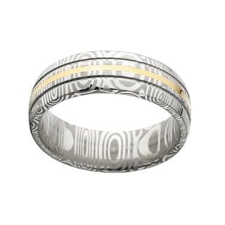 Damascus Steel and 14k Gold Men's Domed 8-millimeter Ring