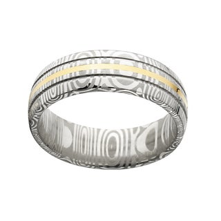 Damascus Steel and 14k Gold Men's Domed 8-millimeter Ring
