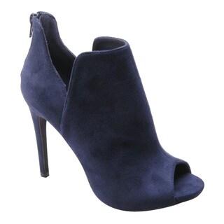 BETANI FD16 Women's Notched Back-zip Peep Toe Stiletto Heel Ankle Booties