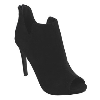 BETANI FD16 Women's Notched Back-zip Peep Toe Stiletto Heel Ankle Booties