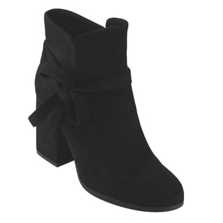 BETANI Women's Slip-on Knot Ankle Wrap Block Heel Booties