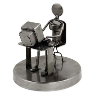 Handmade Recycled Auto Parts 'Rustic Programmer' Sculpture (Mexico)