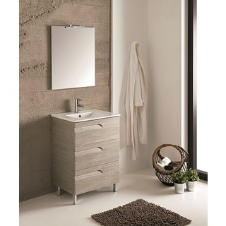 Eviva Vitale 24-inch Maple Modern Bathroom Vanity with White Integrated Porcelain Sink