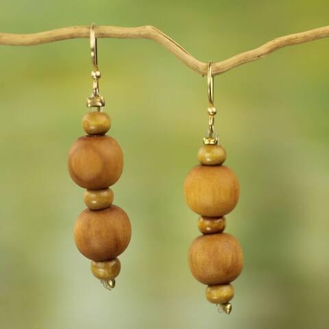Handmade Sese Wood 'Rustic Dreams' Earrings (Ghana) - Brown