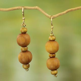 Handmade Sese Wood 'Rustic Dreams' Earrings (Ghana)