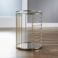 InnerSpace Linear Goldtone Mirrored Side Table