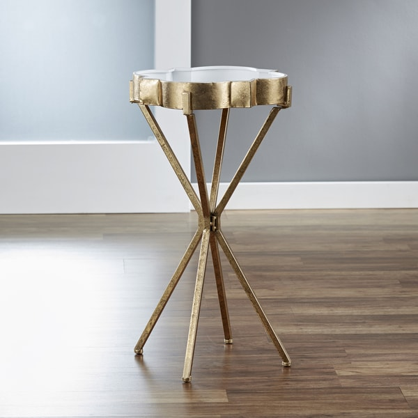 InnerSpace Quatrefoil Goldtone Tray Table