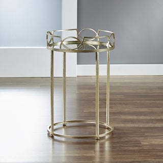 InnerSpace Lattice Edge Goldtone Mirrored Side Table