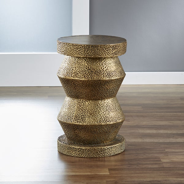 Hammered Metal Drum Table InnerSpace Chess Antique Brass Side Table - Free Shipping Today ...