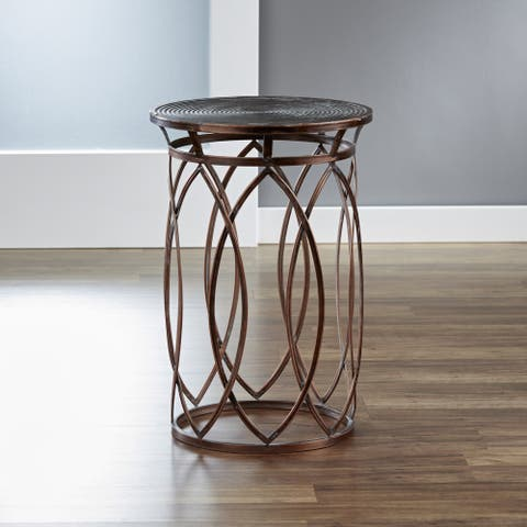 InnerSpace Marquise Antique Bronze Round Side Table